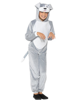 Dog Costume, Grey, with Hooded Jumpsuit