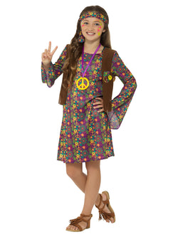 Hippie Girl Costume, Multi-Coloured, with Dress, Attached Waistcoat, Headband & Medallion