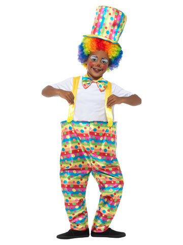 Boys Clown Costume, Multi-Coloured, with Hooped Trousers, Bow Tie & Hat