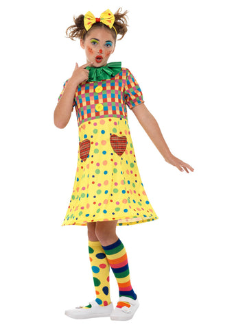Girls Clown Costume, Multi-Coloured, with Dress, Headband & Neck Ruffle