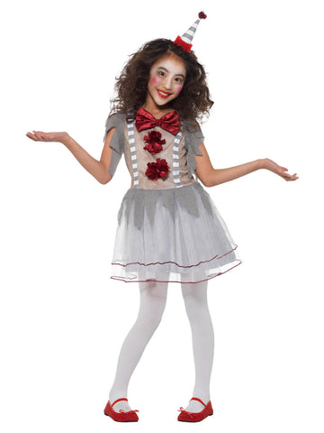 Vintage Clown Girl Costume, Grey & Red, with Dress & Headband