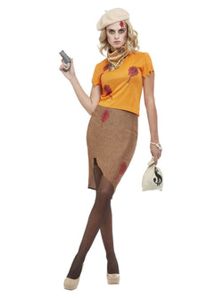 Bonnie Zombie Gangster Costume, Orange - The Halloween Spot