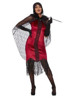 Deluxe Vampire Flapper Costume, Red - The Halloween Spot