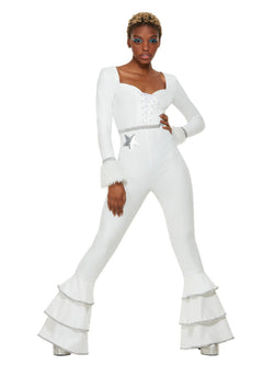 70s Deluxe Glam Costume, White - The Halloween Spot