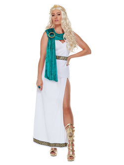 Deluxe Roman Empire Queen Toga Costume, White - The Halloween Spot