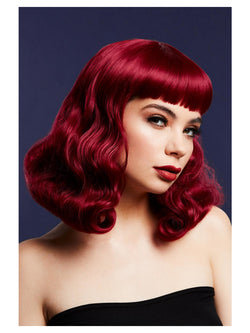 Fever Bettie Wig with Short Fringe, Plum - The Halloween Spot