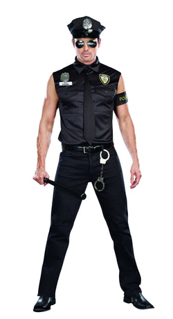 Men's  Bad Guy Cop Costume Dirty Cop Officer Ed Banger, 6-Piece Officer Set - The Halloween Spot