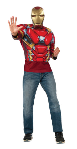 Muscle Chest Adult Iron Man Costume Top and Mask