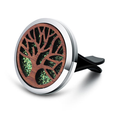 Vintage Wood Tree Of Life Aroma Car Air Freshener Stainless Steel Perfume Locket Essential Oil Diffuser Detachable Clip Jewelry