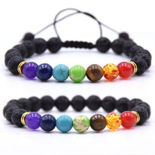 7 Chakra Charms Lava Rock Bracelets For Men Women Essential Oils Diffuser Natural stone Beads Chain Fashion handmade Jewelry