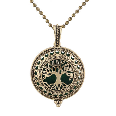 New Aroma Diffuser Tree Of Life Necklace Open Antique Vintage Locket Pendant Perfume Essential Oil Diffuser Aromatherapy Jewelry