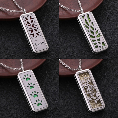 2019 Aromatherapy Jewelry Rectangle Stainless Steel Magnetic Pendant Perfume Essential Oil Locket Necklace Fashion Accessories