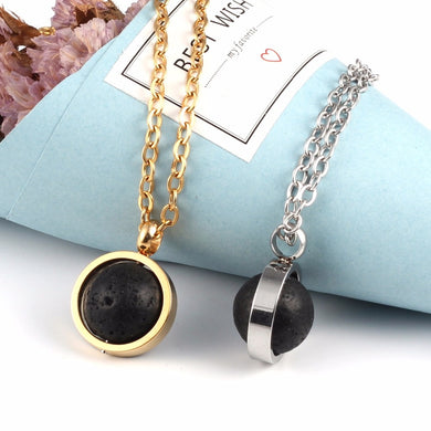 Lava Stone Bead Essential Oil Diffuser Necklace for Men Women Kids Aromatherapy Jewelry Silver  color Gold Stainless Steel Chain