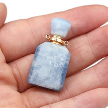 1Pcs Natural Stone Agates Perfume Bottle Connector Quartz Amethysts Fluorite Pendant Essential Oil Diffuser Charms Jewelry Gift