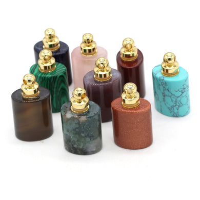 Essential Oil Diffuser Perfume Bottle Pendant Necklace Natural Stone Agates Malachite Pendants Charm Reiki Healing Jewelry Gift