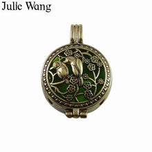Julie Wang 1PCS Alloy Antique Hollow Pattern Essential Oil Diffuser Perfume Locket Charm For Necklace Pendant Jewelry Accessory