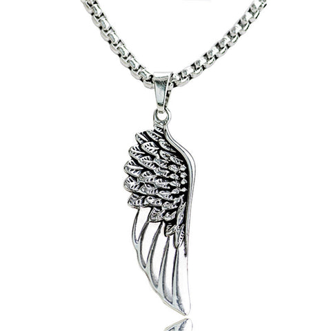 10pcs Vintage Feather Angel Wings Necklace Antique Silver Stainless Steel Pendants Gothic Punk Biker Jewelry