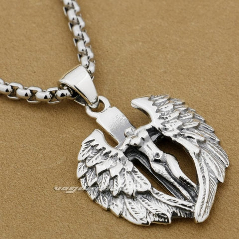 925 Sterling Silver Naked Angel Cross Wings Mens Biker Rocker Pendant 9F022A(Necklace 24inch)
