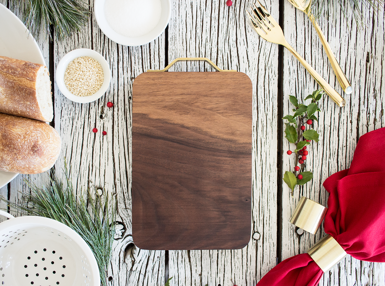 """Clayton"" American Black Walnut Cutting Board hand carved by Smokestack Studios® in the USA. A beautiful Christmas present or decoration on your table this holiday season"