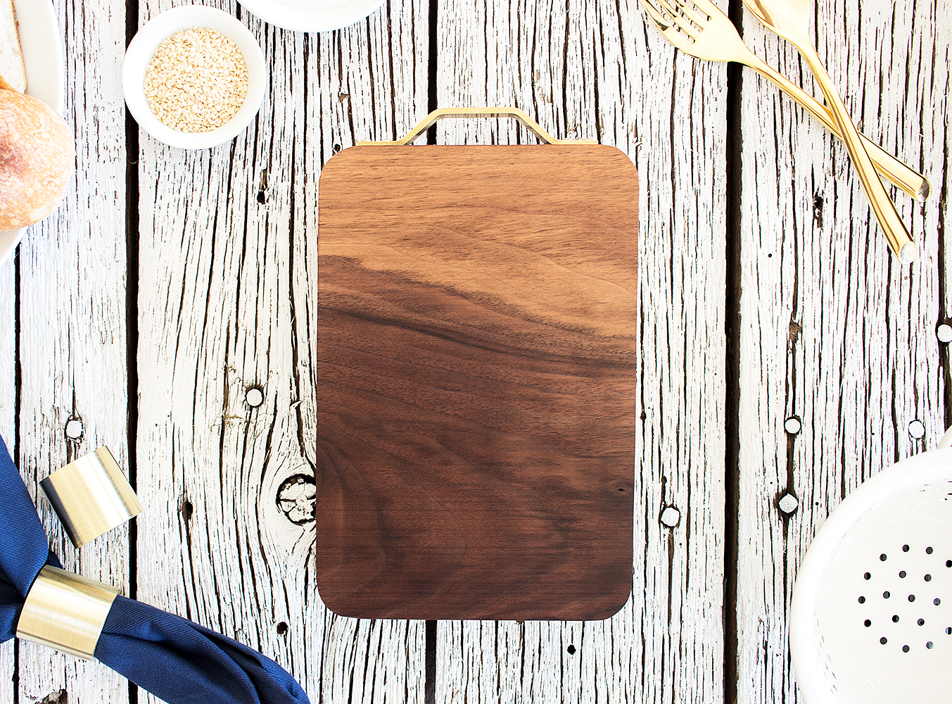 """Clayton"" American Black Walnut Cutting Board hand carved by Smokestack Studios® in the USA. A beautiful addition to your kitchen or decoration on your dining table."