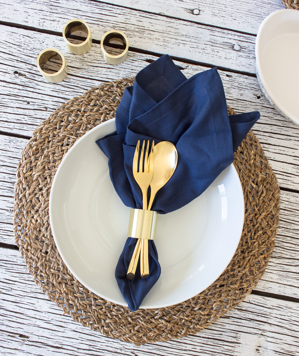 Brass Napkin Rings by Smokestack Studios. These gold rings are perfect for a fine dining restaurant, culinary housewarming gift, or wedding present!