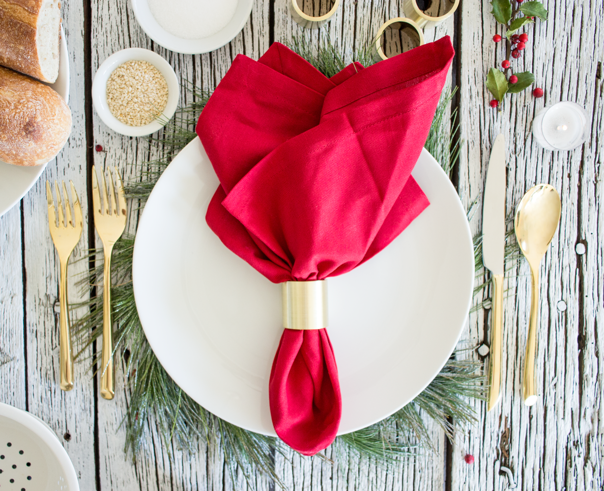 Brass Napkin Rings by Smokestack Studios. These gold colored rings are perfect for Secret Santa, a culinary Christmas gift for a husband or wife, or a housewarming gift for a newlywed couple!