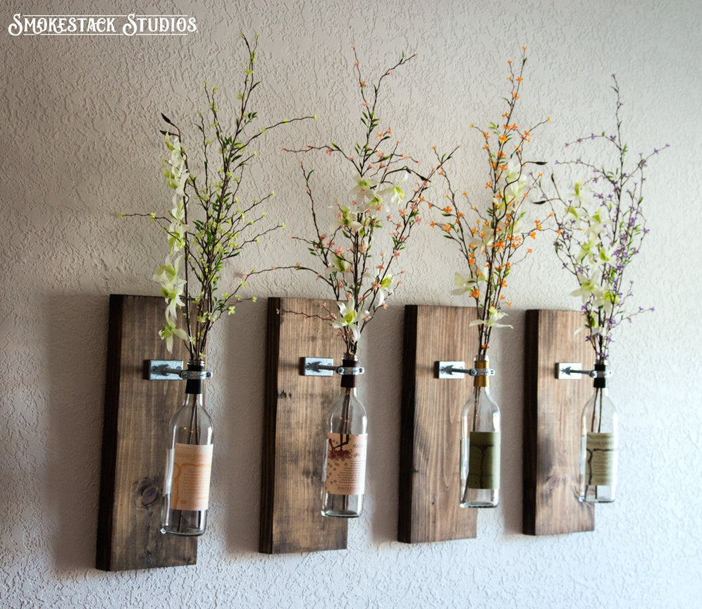 Wine Bottle Wall Vases (Set of 4)