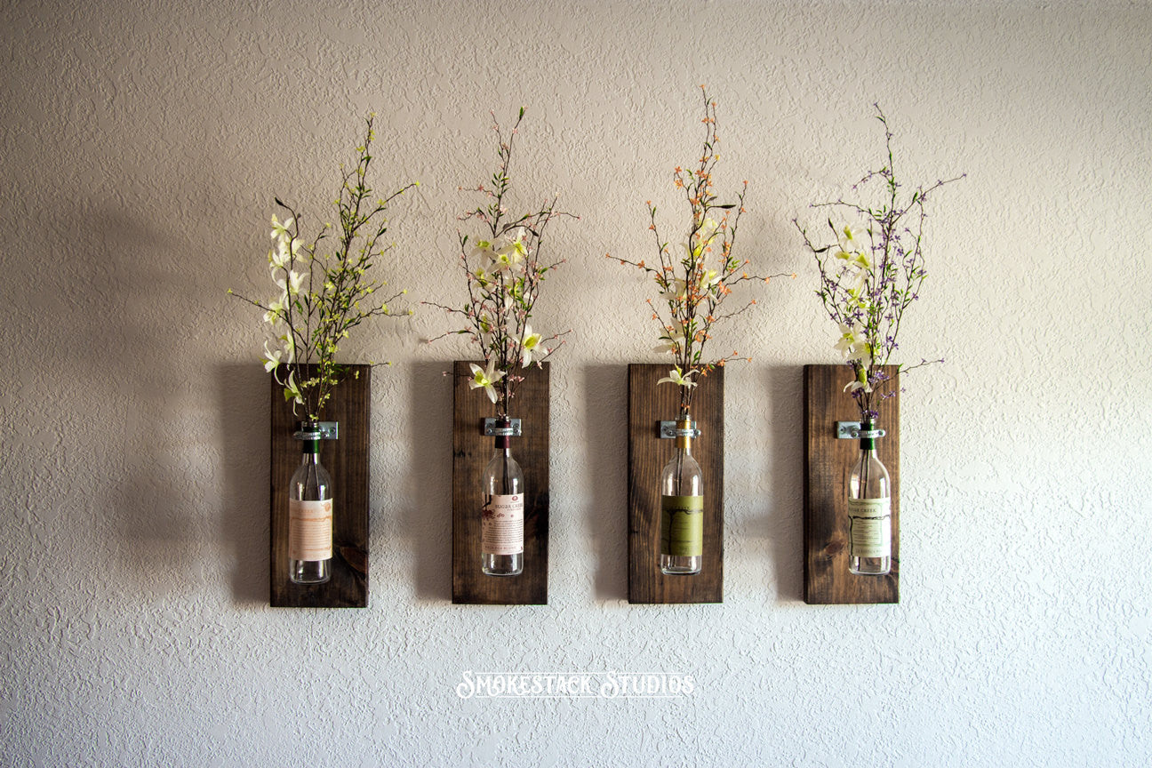 Wine bottle wall vases set of 4 smokestack studios wine bottle wall vases set of 4 reviewsmspy