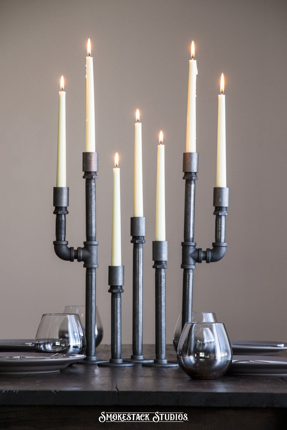 Pipe Candelabra Centerpiece