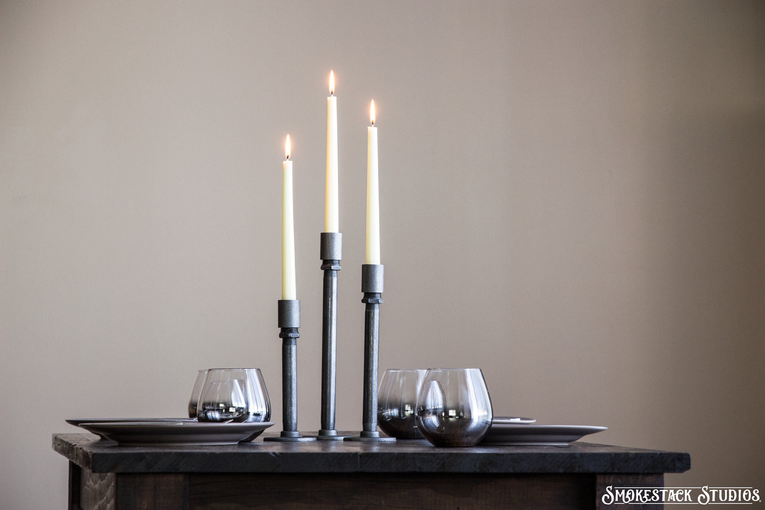 Pipe Candlestick Holder Set