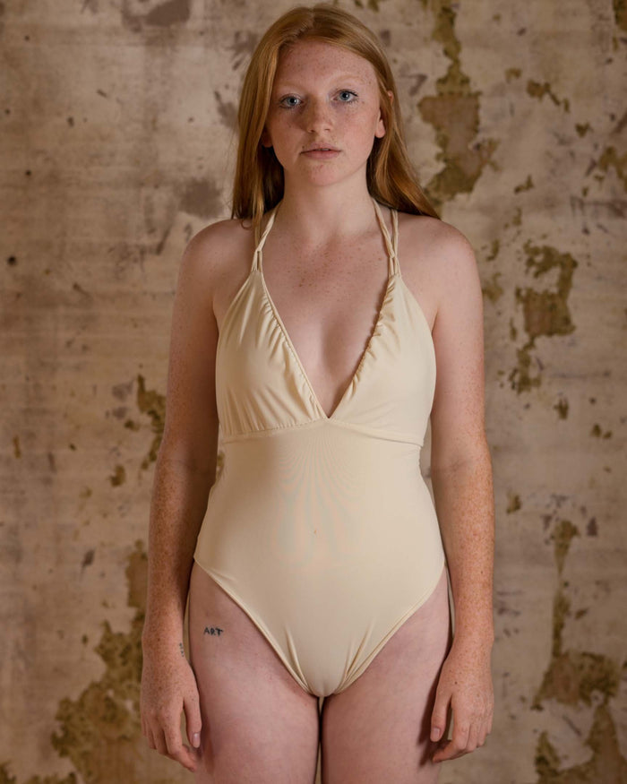 Ready to Ship Honeymooner Cream Monokini - Siobhan Barrett Handmade Lingerie