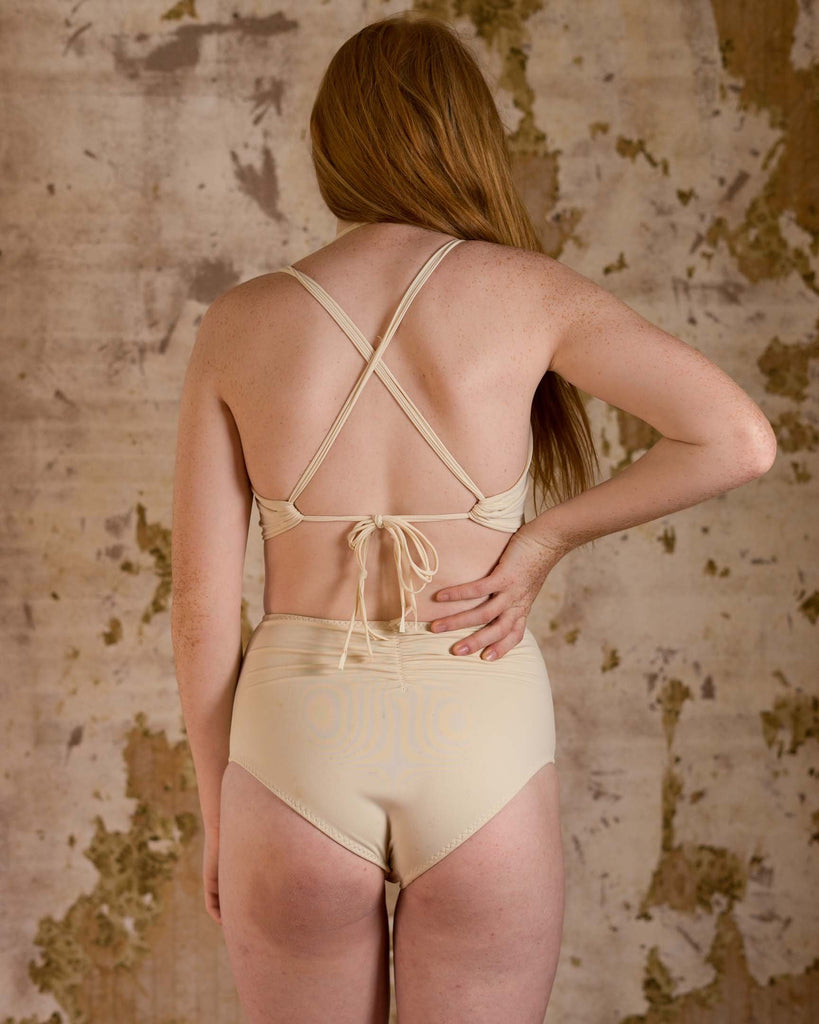 Honeymooner Cream Mesh High Waisted Bikini Bottoms - Siobhan Barrett Handmade Lingerie