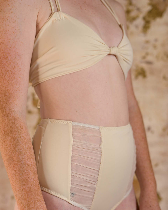 Honeymooner Cream Mesh High Waisted Bikini Bottoms