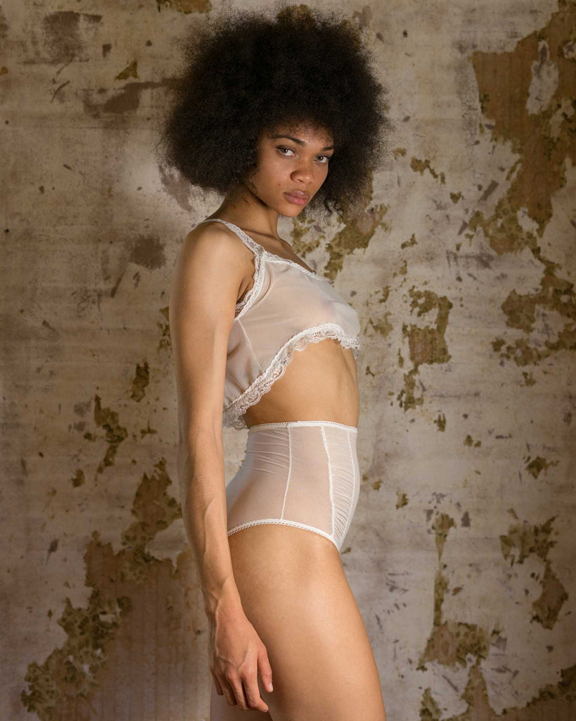 Honeymooner Bridal White Mesh High Waisted Panties - Siobhan Barrett Handmade Lingerie