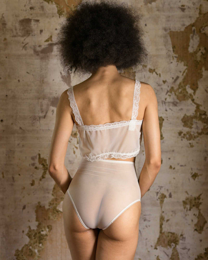 Honeymooner Bridal White Mesh High Waisted Panties