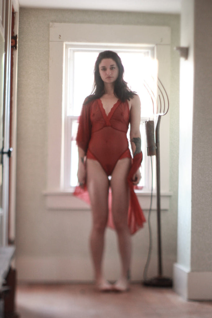 Ready to Ship Be Mine Mesh Scarlet Red Lace Lingerie Bodysuit - Siobhan Barrett Handmade Lingerie