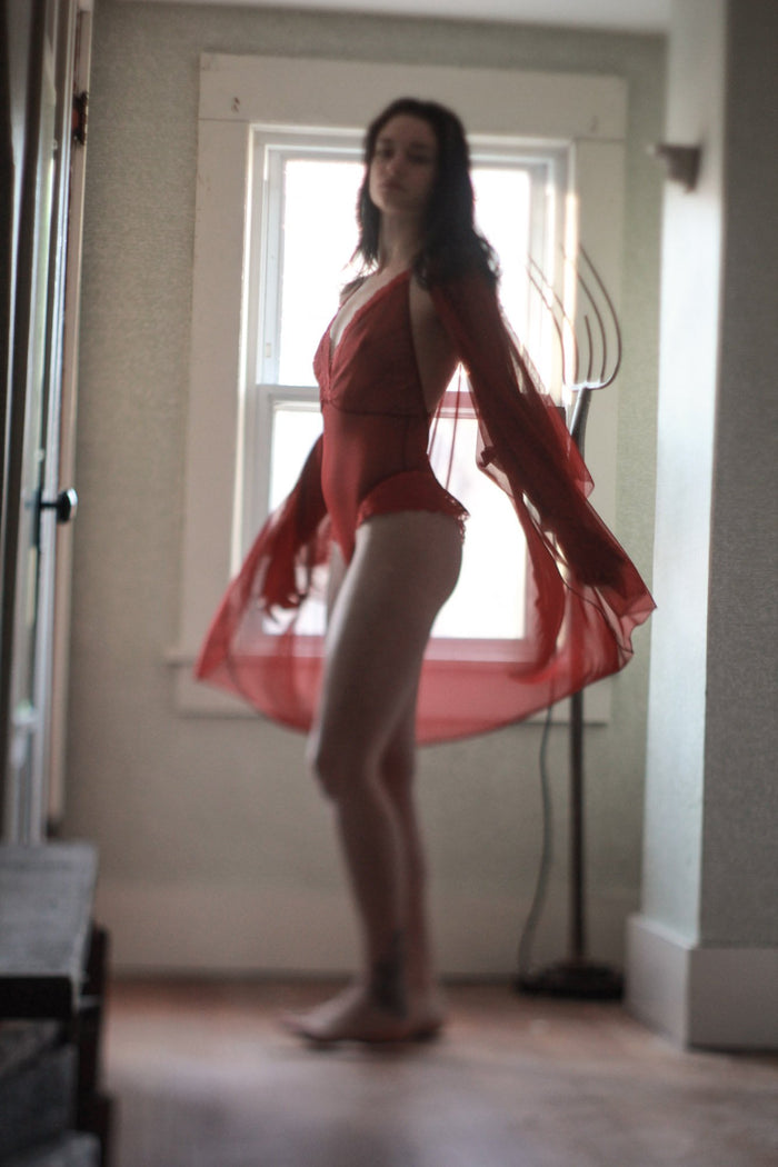 Be Mine Mesh Scarlet Red Lingerie Robe