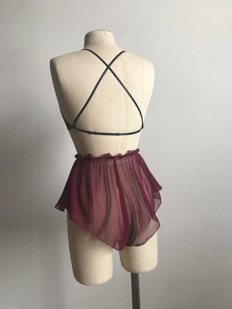 Lovers Mesh Bralette and Tap Short Set in Black Cherry