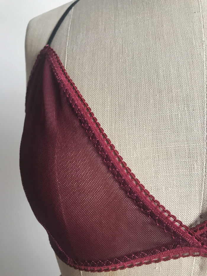 Lovers Mesh Bralette in Black Cherry - Siobhan Barrett Handmade Lingerie
