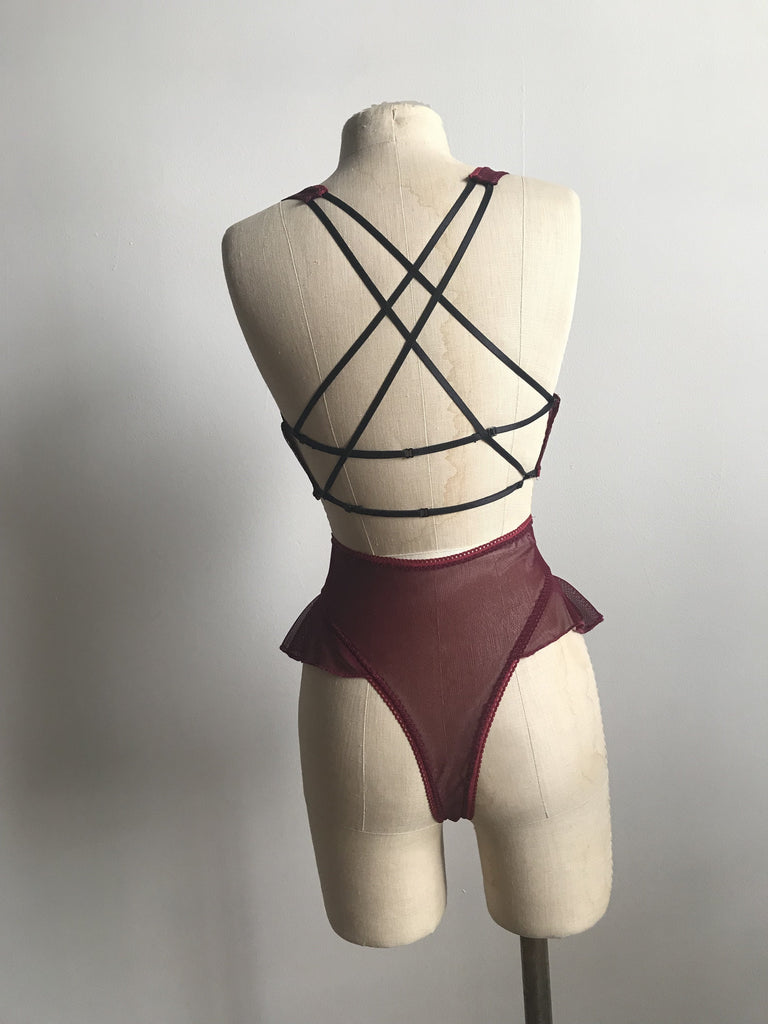 Lovers Mesh Bralette and High Waisted Thong Panty Set in Black Cherry