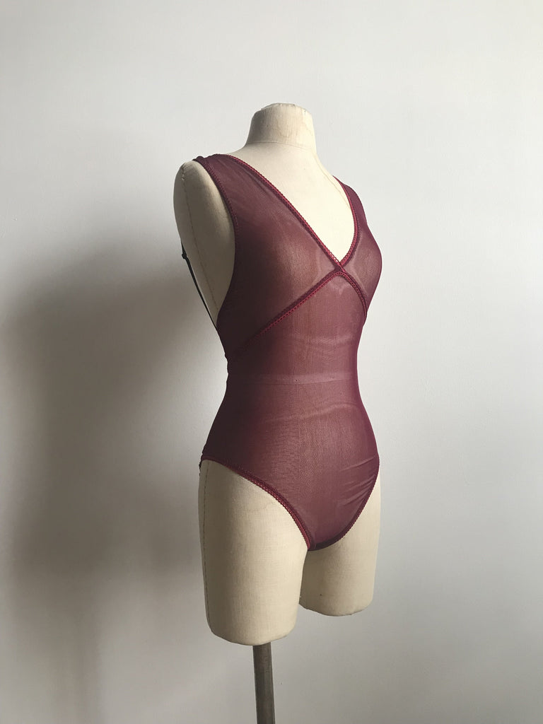 Lovers Mesh Sheer Backless Peek a Boo Bodysuit in Black Cherry - Siobhan Barrett Handmade Lingerie