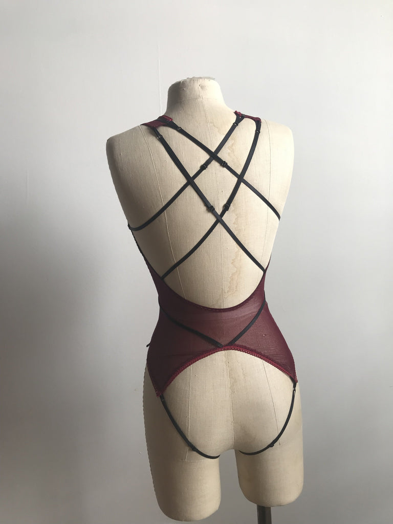 Lovers Mesh Sheer Strapped Backless Peek a Boo Bodysuit in Black Cherry