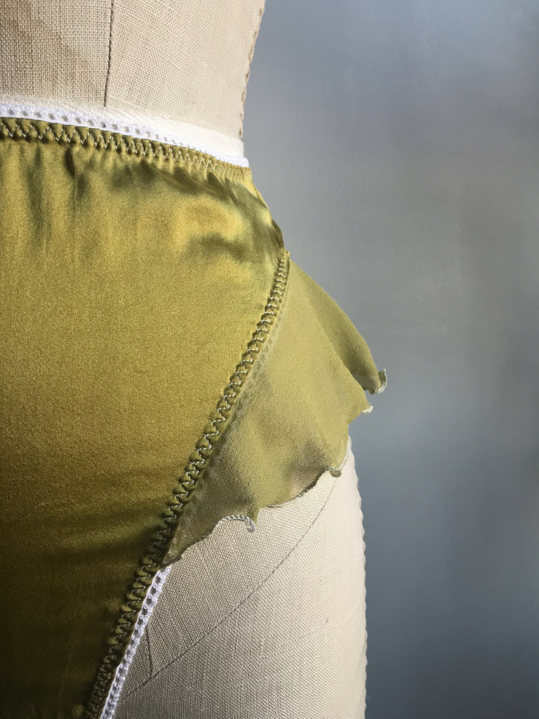 Ready to Ship Lovers Silk Charmeuse High Waisted Thong Panty in Chartreuse - Siobhan Barrett Handmade Lingerie