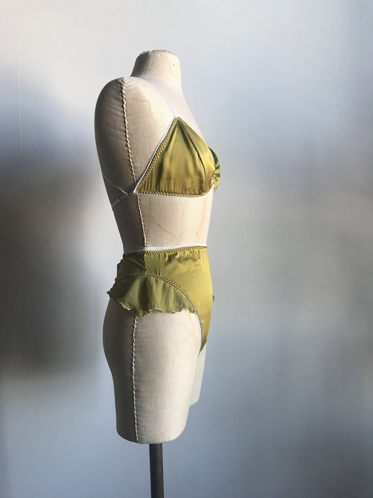 Lovers Silk Charmeuse High Waisted Thong Panty in Verdant Green - Siobhan Barrett Handmade Lingerie