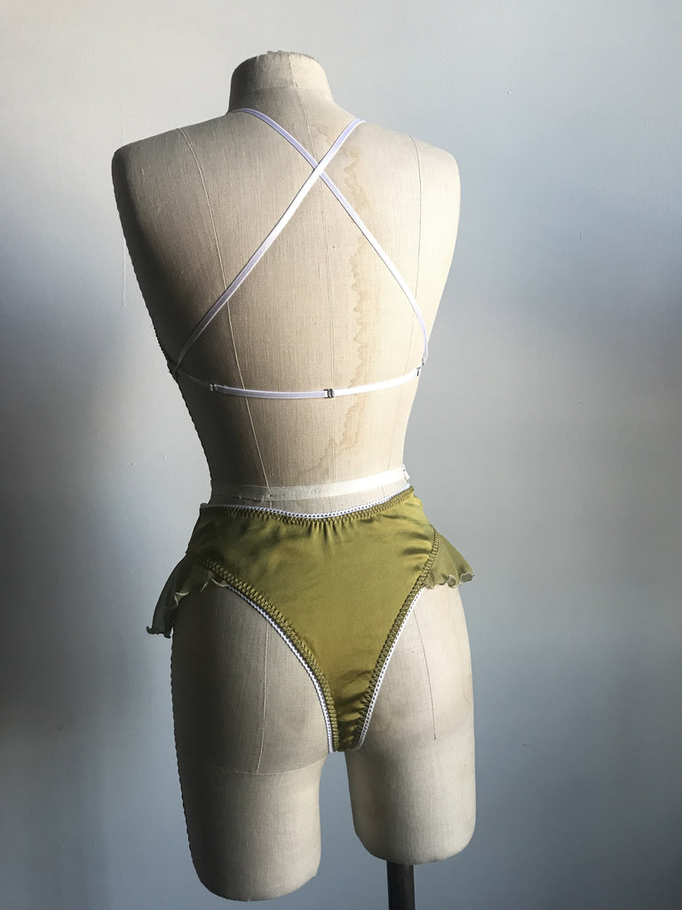 Lovers Silk Charmeuse Bralette and High Waisted Thong Panty Set in Chartreuse - Siobhan Barrett Handmade Lingerie