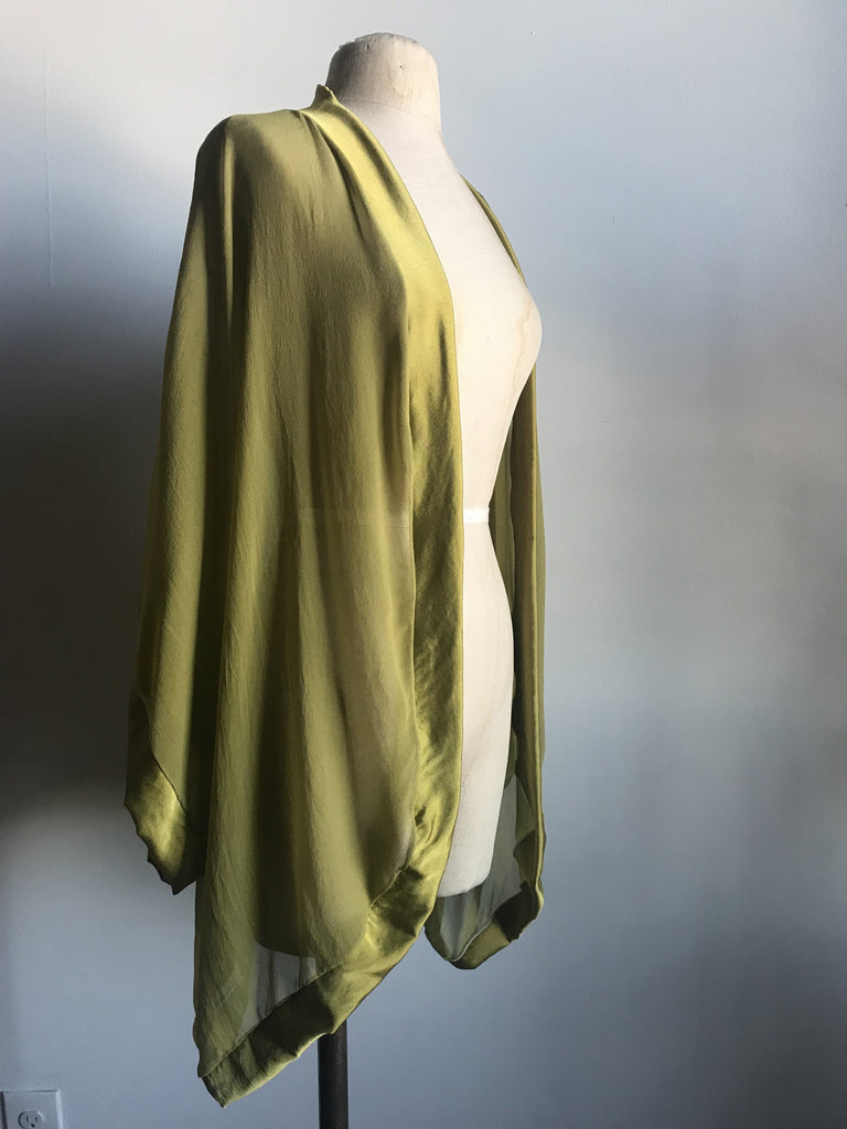 Lovers Ruffled Silk Charmeuse Robe and Bodysuit Set in Chartreuse - Siobhan Barrett Handmade Lingerie