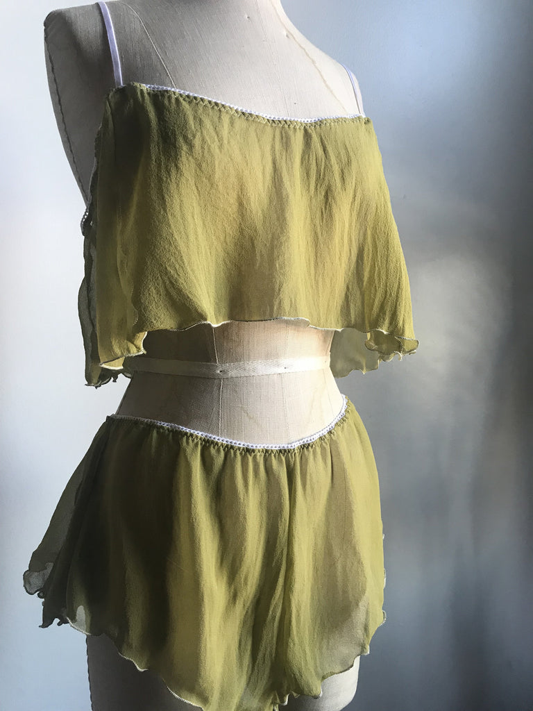 Lovers Silk Chiffon Crop Camisole and Tap Short Set in Verdant Green - Siobhan Barrett Handmade Lingerie