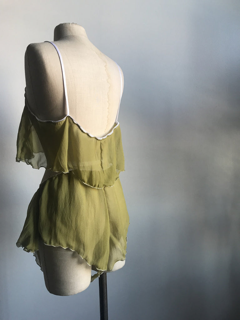 Lovers Silk Chiffon Crop Camisole and Tap Short Set in Chartreuse - Siobhan Barrett Handmade Lingerie