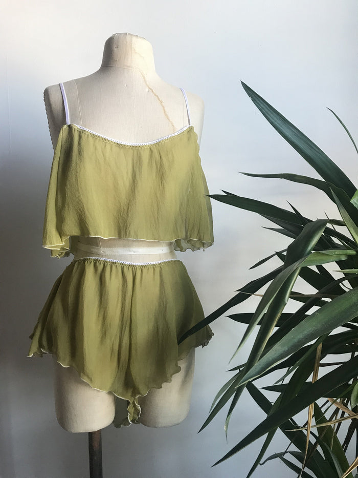 Lovers Silk Chiffon Cropped Camisole in Chartreuse - Siobhan Barrett Handmade Lingerie