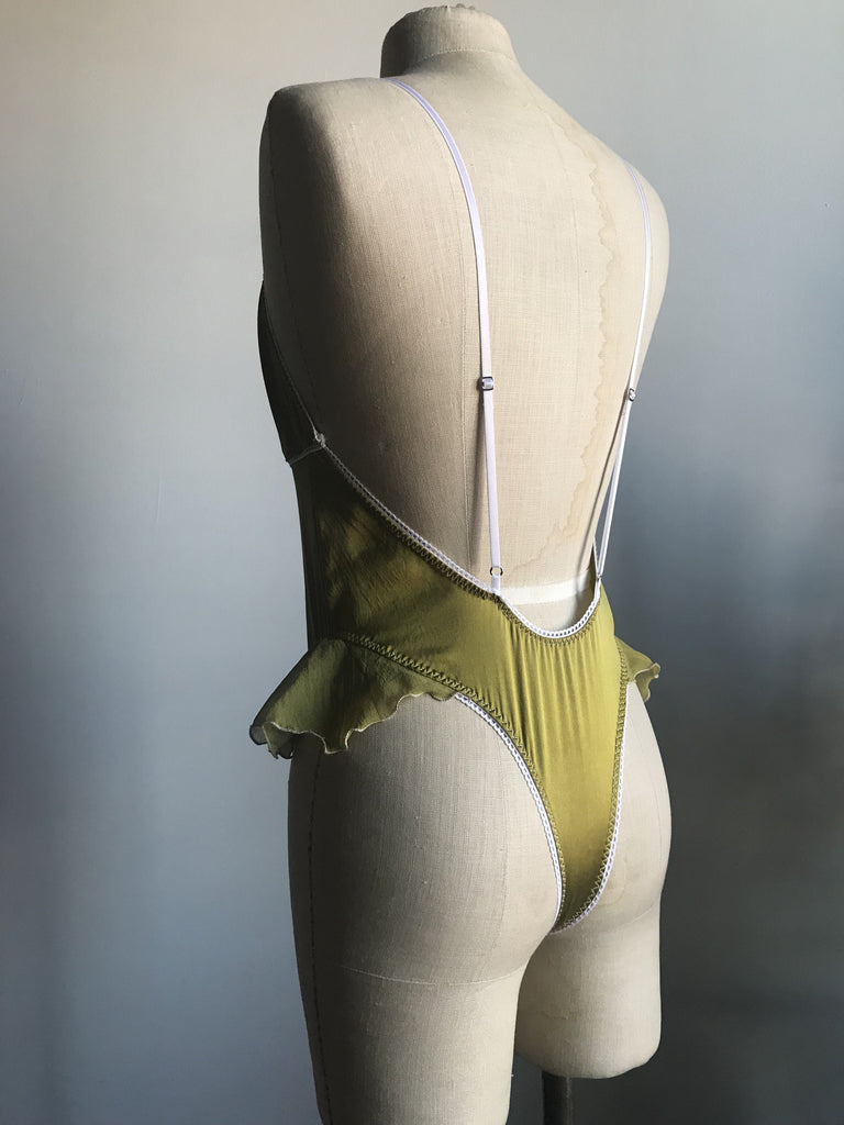 Ready to Ship Lovers Ruffled Silk Charmeuse Bodysuit in Chartreuse - Siobhan Barrett Handmade Lingerie